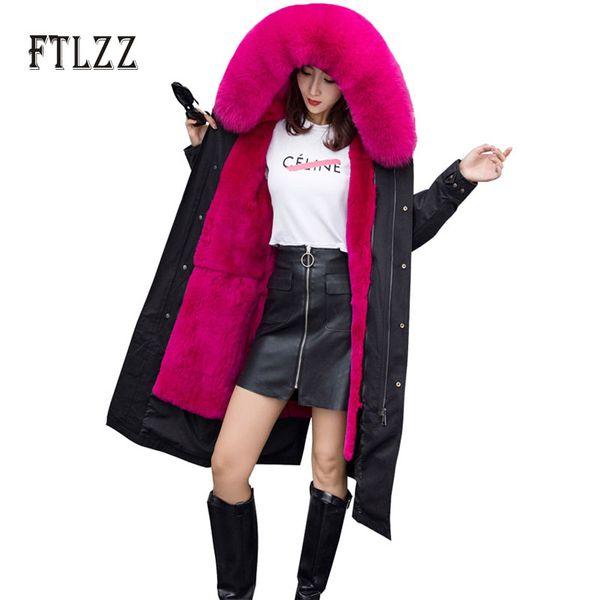 Chaud Faux Agneau Doublure Parkas Mujer Femmes Nouvelle Mode Noir Veste Longue Hiver Plus Taille À Capuche Col En Fausse Fourrure Corée Neige