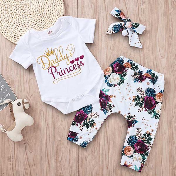 Bebé niña traje de tres piezas corona papá princesa carta de impresión de manga corta cuello redondo mamelucos recién nacido bebé rosa pantalones de impresión conjuntos