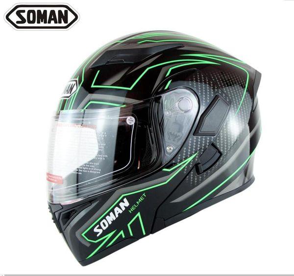 Rapide bateau Soman 955 Double Lens Casques Modèle K5 Flip up Moto Capacetes Visage complet Moto Casco Approbation DOT