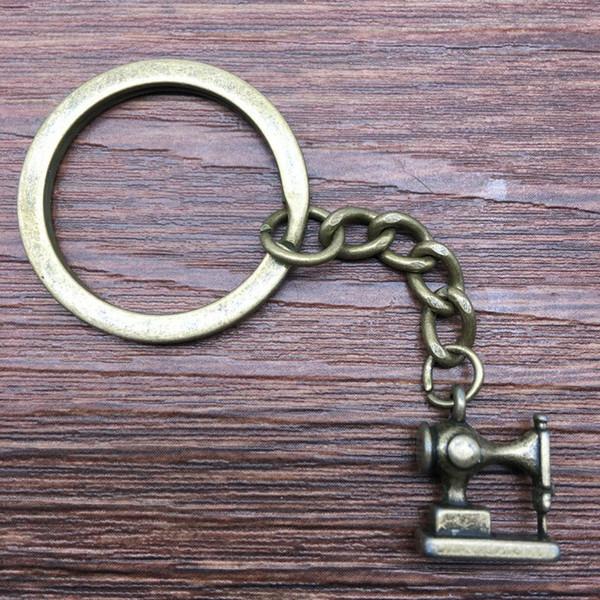 Keyring 3D Sewing Machine Keychain 15x12mm Antique Bronze New Fashion Handmade Metal KeyChain Souvenir Gifts For Women