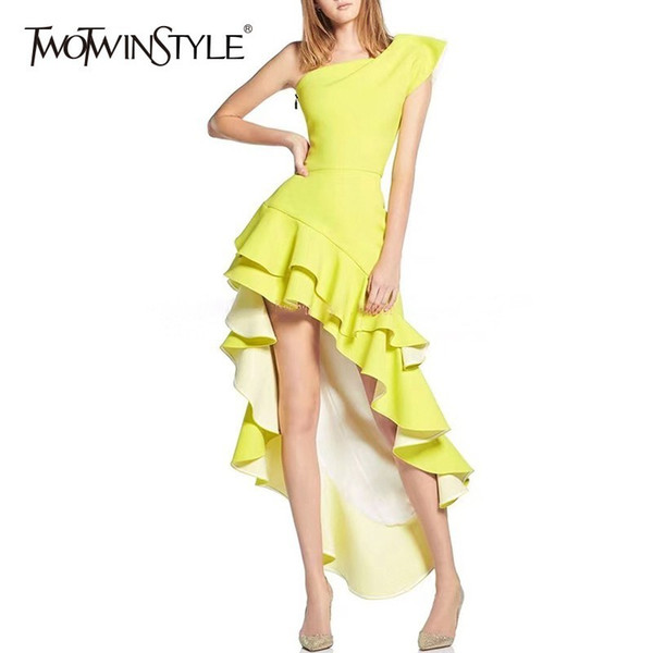 TWOTWINSTYLE Irregolare Party Dress Donna Off spalla asimmetrica orlo Ruffle Abiti da donna Sexy Fashion 2018 Estate Nuovo