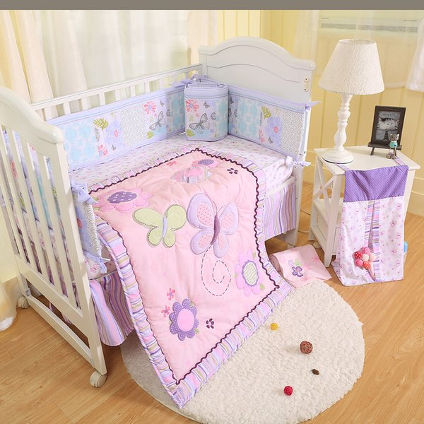 Promotion Baby Girl Bedding Set Purple Butterfly Crib Bumper Set Embroidery Flower Baby Cot Bed Cuna Quilt Bumper Blanket Skirt Sports Sheets Full