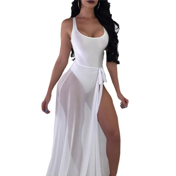 Women Bodycon Transparent Mesh Rompers Beach Backless Sexy Bodysuit Solid Summer Casual Sleeveless Holiday Jumpsuit