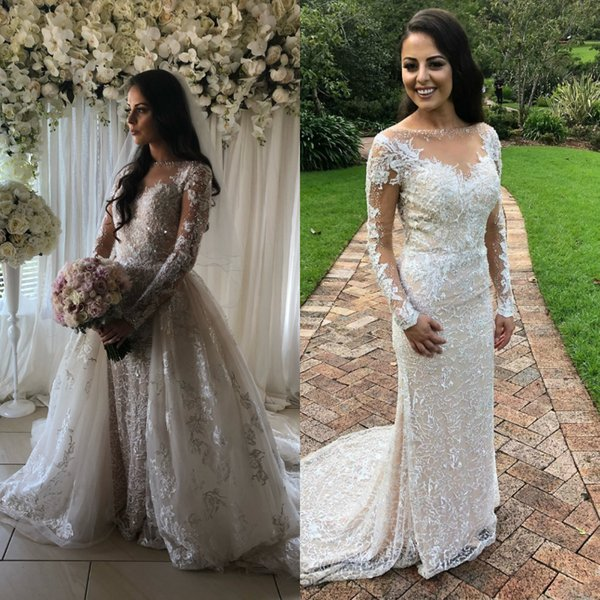 Custome Wedding Dresses Detachable Skirts 3D Appliques Bling Beaded Sheer Neck Long Sleeves Bridal Gowns Luxury fit flare Full Lace for girl