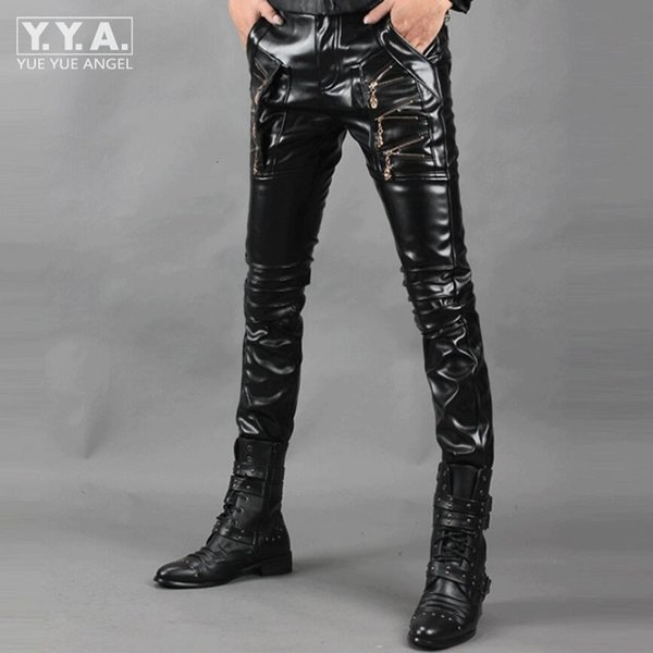 Erkekler Sahte Fermuar Tasarım Pantolon PU Deri Pantolon Pantalon Homme İçin Yeni Hip Hop Erkek Deri Pantolon Motosiklet Slim Fit Pantolon