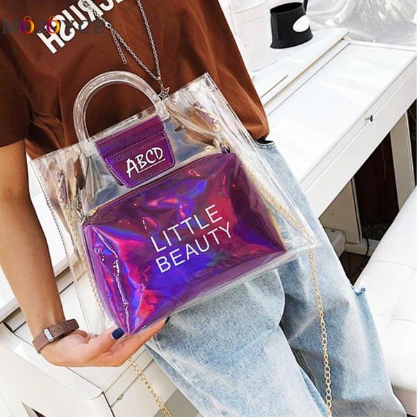 2pcs / set Chic Transparent Femmes Femmes Tote Bags Sacs PVC Clair Dames Bandoulière Sacs À Main Bolsa Feminina