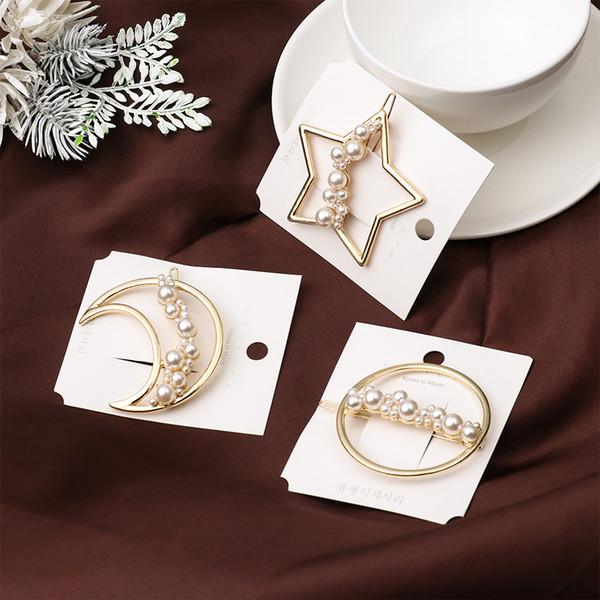 Cute Imitiation Pearl Star Moon Shape Hairpins Metal Gold Color Hair Clips Hair Accessories for Women Girls