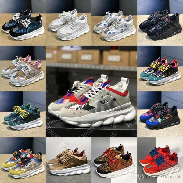 Cheap Men Women Luxury Designer Shoes Discount Price New Chain Reaction Multi Color Rubber Suede Fashion Trainers Sneakers Casual shoes 5-11