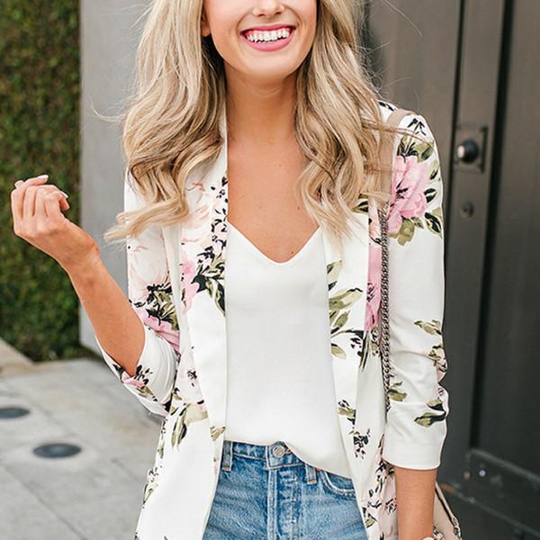 2018 Women Jackets Spring Flower Print Jacket Women Outwear Coat Fashion Thin Windbreaker Outwear Coat Open Stitch