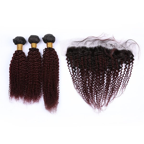 Wine Red Ombre Malaysian Human Hair Kinky Curly Bundles with 13x4 Frontal Closure #1B/99J Burgundy Ombre Full Lace Frontal with Weaves