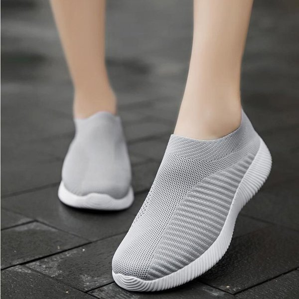 Slip On Flat Shoes For Women 2019 Summer Breathable Mesh Sock Shoes Fashion Casual Black Sneakers Ladies Plus Size 35-43