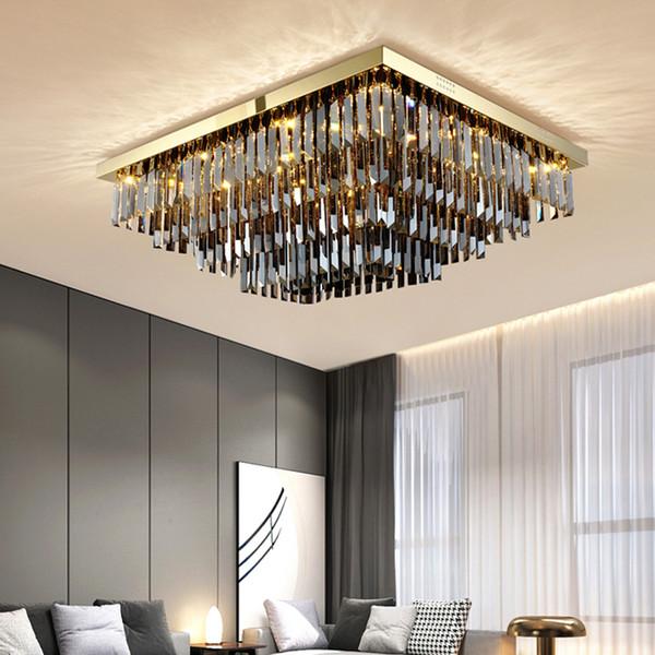 New Arrivals Modern Rectangle Smoky Crystal Chandelier Ceiling Lights Gold Stainless Steel Chandeliers Lighting For Living Room Bedroom Chandelier Fan