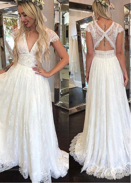 Lace Boho Wedding Dresses Sexy V Neck Backless Beach Wedding Dress A Line Full Lace Rustic Country Wedding Gowns For Women Cheap Bridal