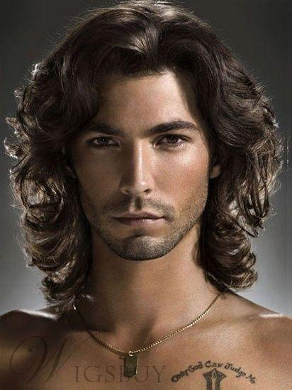 2019 Hot Men Fashion Short Brown Wavy Curly Hair Handsome Male