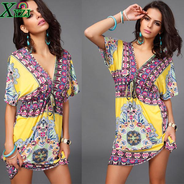 Stylish Sexy Dress Lady NEW Summer Deep V-neck Short Sleeve Retail Wholesale Women Milk Silk Sandy Beachwear