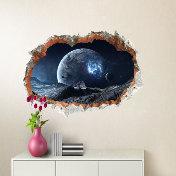 Galaxy Planets 3D Broken Wall Art Decal PVC Outer Space Wall Sticker for Living Room Bedroom Home Decor