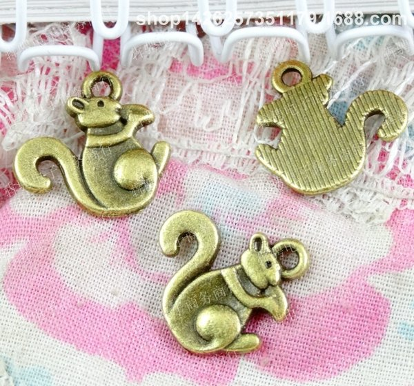 100pcs 11*14MM antique bronze tibetan animal alloy Squirrel charms for bracelet vintage metal pendants earring handmade DIY jewelry making