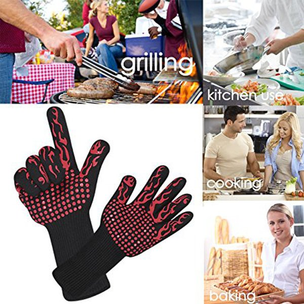 500 Celsius Double-layer Heat Resistant Gloves Oven Gloves BBQ Baking Cooking Mitts In Insulated Silicone BBQ Gloves Kitchen Tools 2019 Hot
