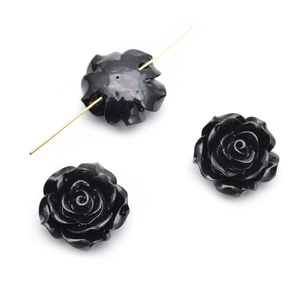 20mm Cor Preta Resina De Plástico Flor Solta Beads fit Moda jóias fazendo 300 pc por lote