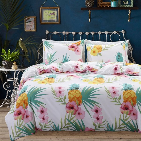 LFH Pineapple King Bedding Set Printing Duvet Cover With Pillow Cover Microfiber Beautiful Bedclothes Comfortable Quilt