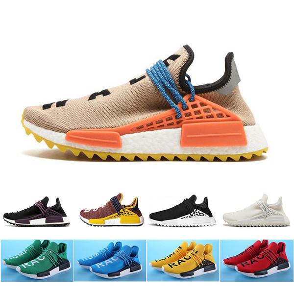 Cheap pale nude Human Race Running Shoes Mens Women Pharrell Williams HU TR Runner Yellow Black White Red Green blue sports shoes 36-47
