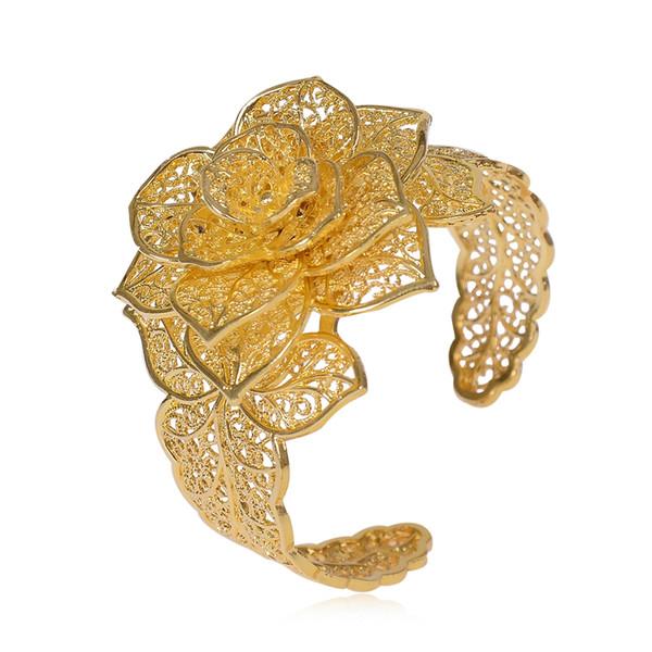 Drei Blumen Manschette Armband Für Frauen Männer Gold Silber Farbe Kupfer Öffnen Armband Vintage Weibliche Armbänder Armreifen