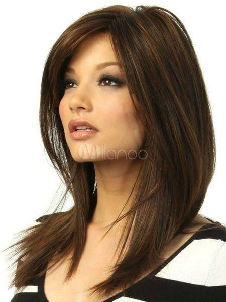 Fashion wig sexy Women's Medium long Dark Brown gold Straight Natural Hair wigs