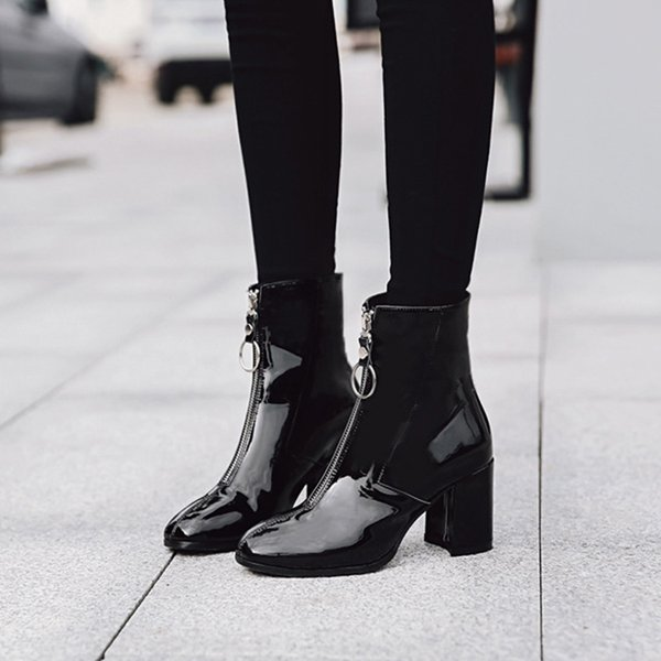European and American style autumn and winter plus velvet warm inside thick with high-end shoes round head fashion ladies