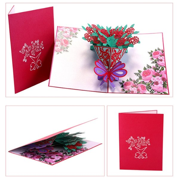 Astonishing Rose Flower Greeting Cards Handmade Birthday Wedding Invitation 3D Funny Birthday Cards Online Fluifree Goldxyz