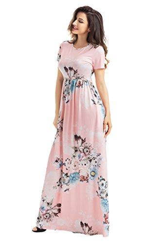 3bc2ce257 HOTAPEI Women's Floral Print Long Dress Short Sleeve Empire Flower Maxi  Dresses