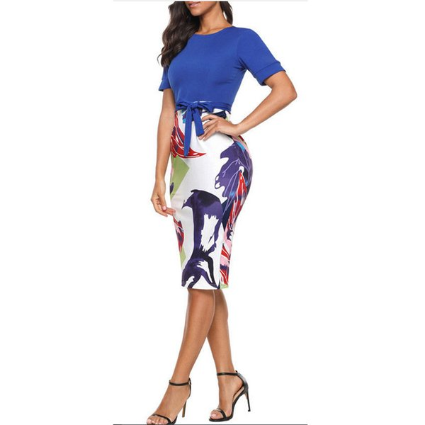 Women Professional Elegant Casual Work Business Office Classic O Neck Neck Belt Printing Patchwork Bodycon Pencil Dress designer clothes
