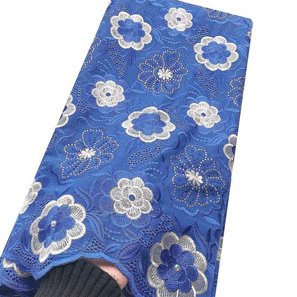 Embroidered Dry Cotton Lace Fabric Swiss Voile Africa Lace Fabric Royal Blue White Nigerian Swiss Lace Fabric High Quality 2019