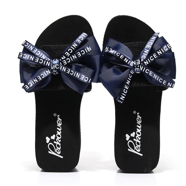 Summer Bow with A High-heeled Platform Fashion Beach Vacation Sandals Slippery Women's Shoes Slides Women