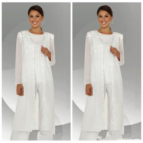 2019 Mother Of The Bride Dresses Long With Jacket Long Sleeve Crew Neck Chiffon Beads Pant Prom Suits Party Dinner Evening Dresses Plus Size