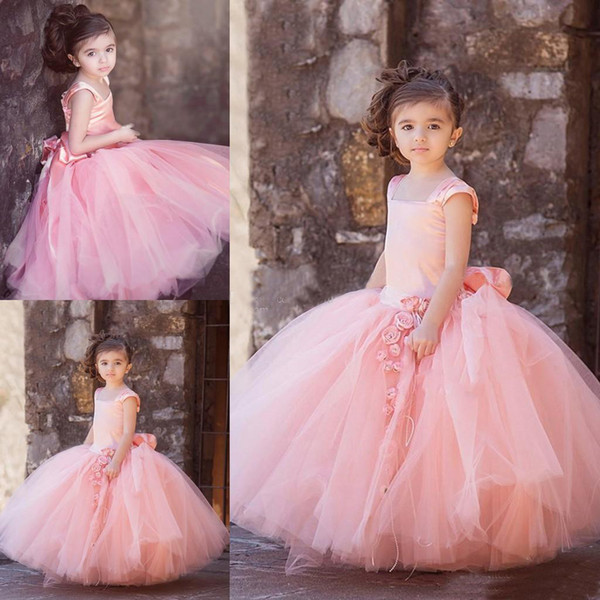 New Modern Lovely Pink Drop Waist Designer Kids' Dresses Tulle Square Neck Cap Sleeves Handmade Flower Bow Sash Kids Party Gowns