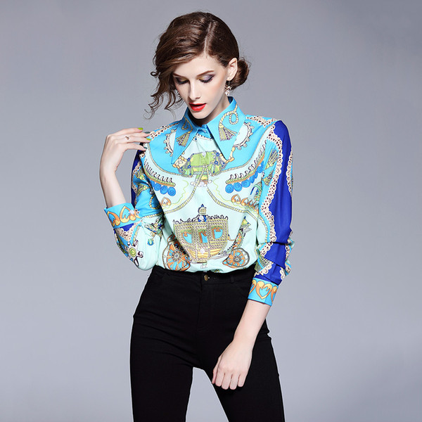 4c9bb1b31e2 2019 2019 Designer Tops High Quality Runway Shirt Women Long Sleeve Shirts  Fashion Printed Vintage Blouse Womens Tops And Blouses From Dhh45, $20.11 |  ...
