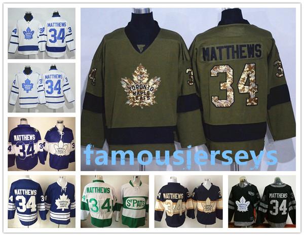 100e anniversaire du chandail de hockey des Maple Leafs de Toronto 34 Auston Matthews RB chandail rétro blanc bleu