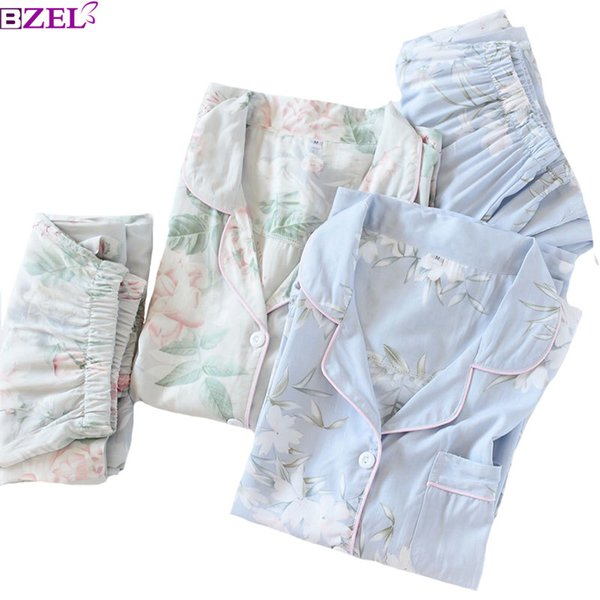 2019 Spring New Ladies Pajamas Set Floral Printed Soft Sleepwear Cotton Simple Style Women Long Sleeve+pants 2piece Set Homewear Y19071901