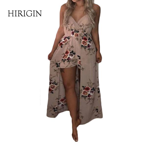 Женщины дизайнер платье принт цветочные сексуальный комбинезон Boho Сарафан Rompers Женщины комбинезон элегантный шифон лето элегантный сладкий