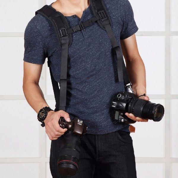 Freeshipping Fashionable Durable Soft DSLR Professional K Pattern Camera Double Shoulder Strap Black Adjustable Belt PU6002