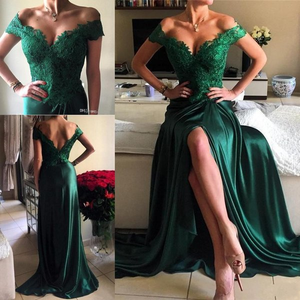 2019 Cheap Sexy Prom Dresses Off Shoulder Cap Sleeves Hunter Green Lace Appliques Side Split Open Back Long Formal Party Dress Evening Gowns