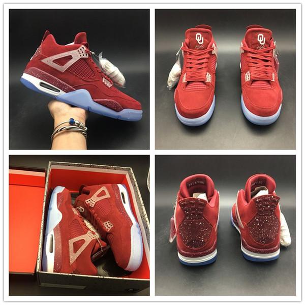 2019 Oklahoma Mens Basketball Schuhe 4 s NCAA Saison Universität Designer oberen Wildleder TOP Qualität Sport Trainer Sneaker Größe 7-13