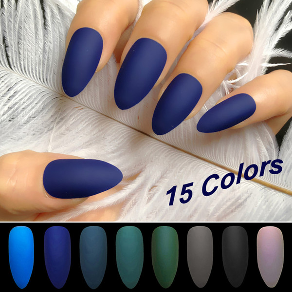 Wholesale Coffin Stiletto Matte Fake Nail Dark Blue Frosted Stiletto Artificial Nail Eraser Touch Fake Nails Designs Nail Acrylic From Appleeye