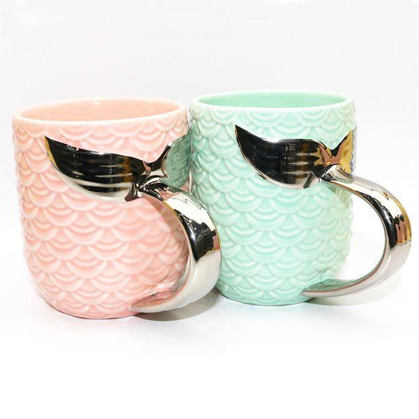 4styles Mermaid Tail Ceramic Cup Tumbler Creative Tea Cup Coffee Mug Breakfast Milk Cups With Gold Silver Handle wedding gift Mugs FFA2141