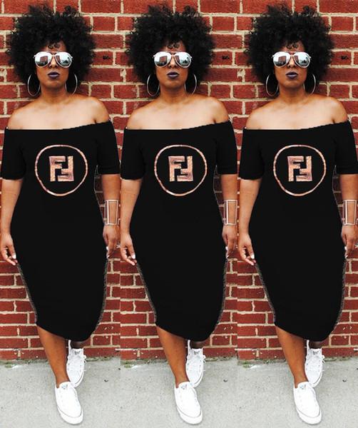 Robes d'été femmes slash cou paillettes sexy lady lettres imprimées vêtements club robes de rue lâche