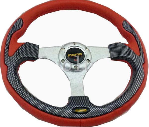 MOMO steering wheel, 14-inch car modified PVC leather racing steering wheel F0 Charade Geely