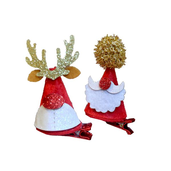 4 Pcs Christmas Hair Clips Cute Mini Antler Santa Hat Red Hair Grips Barrettes Accessories for Girls Kids Toddlers