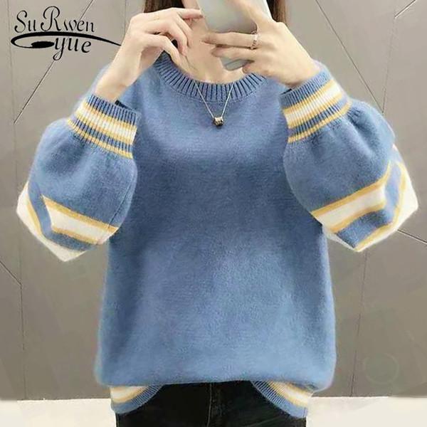 2019 New Fashion Casual Women Sweater Long Sleeve O-neck Soft Women Clothing Elegant Tops Winter Blouses 5777 50