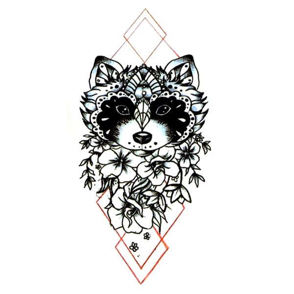 Raccoon Waterproof Temporary Tattoos Men Fake Tattoo Sleeve Harajuku Kids Tattoo The flash Tatoo Temporary Stickers Team Bride