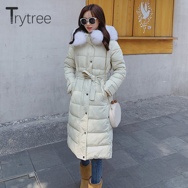 trytree 2019 winter women casual coat hooded zipper pockets button slim fit belt solid 4 colour down jacket long thick coat